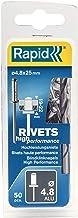 Rapid Blinde klinknagels ALU Universal Ø 4,8 mm, 19-22 mm klembereik, 50 stk. klinknagels, set incl. boor, voor blindklink...