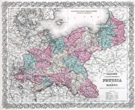 Historic Map - 1869 Prussia and Saxony. - Vintage Wall Art - 54in x 44in