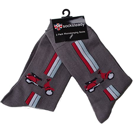 Warrior Pack of 2 Pairs Mens Socks with Red Vespa Design, Fits Mens Shoe Size 5-10, Grey