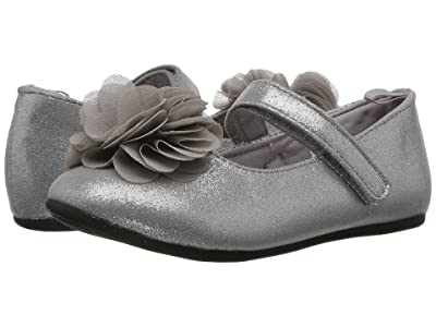 Baby Deer First Steps Dress Flat with Flower (Infant/Toddler) (Silver) Girl