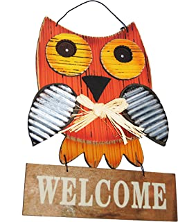 Changing Seasons Welcome Fall Wooden and Metal Owl Sign (Orange Owl)