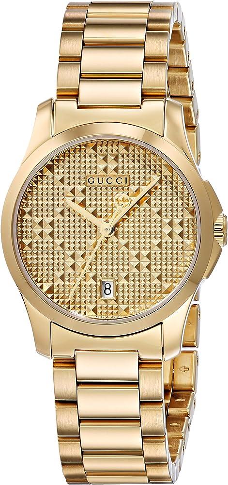 Gucci,orologio per donna,in acciaio inossidabile con rivestimento pvd in oro giallo brillante,quadrante in oro YA126553
