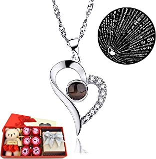 Body Chain Store I Love You Necklace 100 Languages Gift Set   Nano Jewelry Projection Necklace   Romantic Gifts for Her