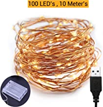 TIED RIBBONS 10 Meter 100 LED Fairy String Lights - USB and Battery Operated - Decorative Lights for Home Wall Lighting Decoration