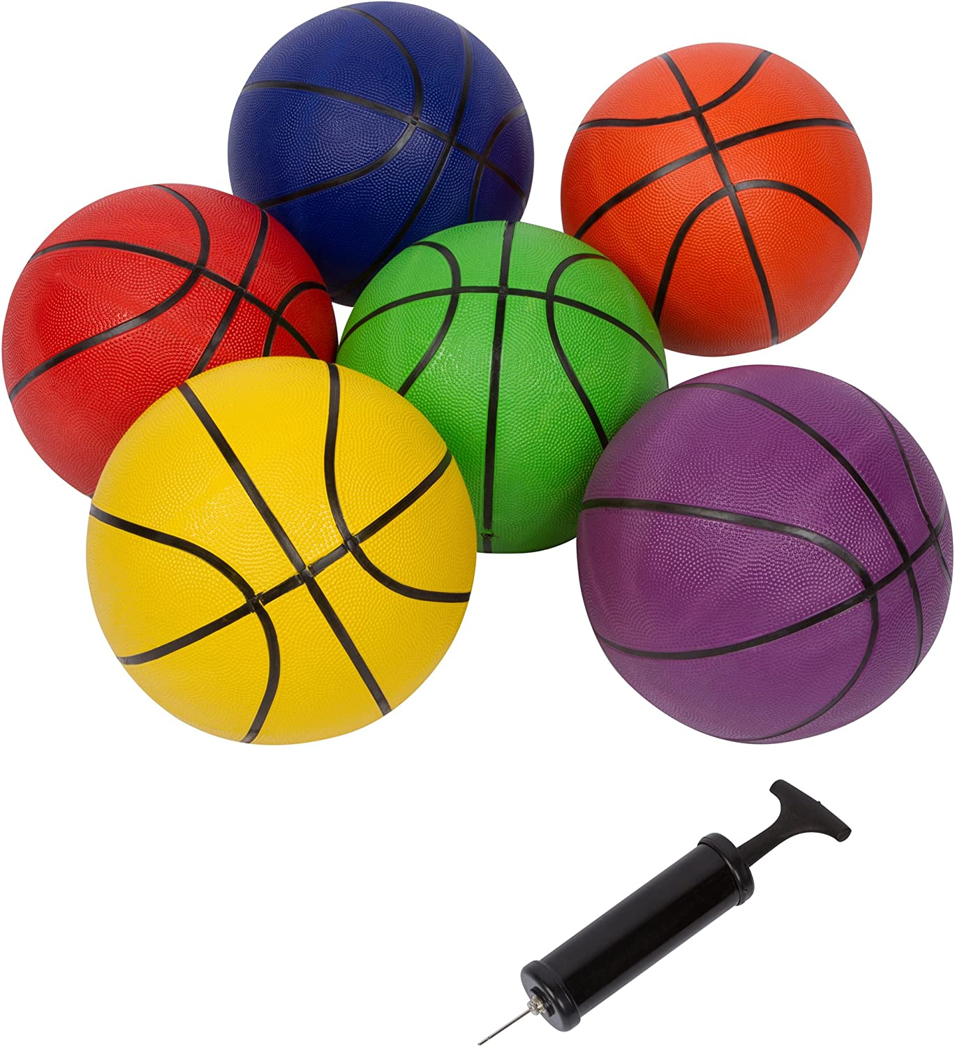 29.5 Size 7 Regulation Size Basketballs  Set of 6 Multicolor with Pump by Trademark Innovations