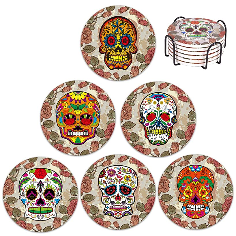 Vencer Skull Head Ceramic Coasters for Drink with Holder - Absorbing Stone Coasters with Cork Base,Prevent Furniture - Day of the Dead Dia De Muertos,Set of 6