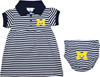 University of Michigan Wolverines Baby Striped Game Day Dress with Bloomer