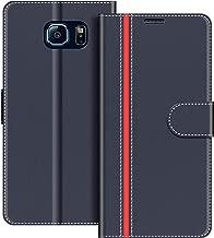 COODIO Custodia per Samsung Galaxy S6, Custodia in Pelle Samsung Galaxy S6, Cover a Libro Samsung S6 Magnetica Portafoglio per Samsung Galaxy S6 Cover, Blu Scuro/Rosso