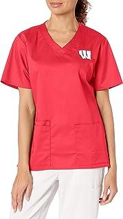 WonderWink womens University of Wisconsin V-Neck Top Medical Scrubs Shirt (pack of 1)