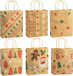 Ogrmar 48 PCS Christmas Gift Bags Kraft Holiday Wrapping Paper Bags with Christmas Prints for Holiday Party Favors Xmas Gi...