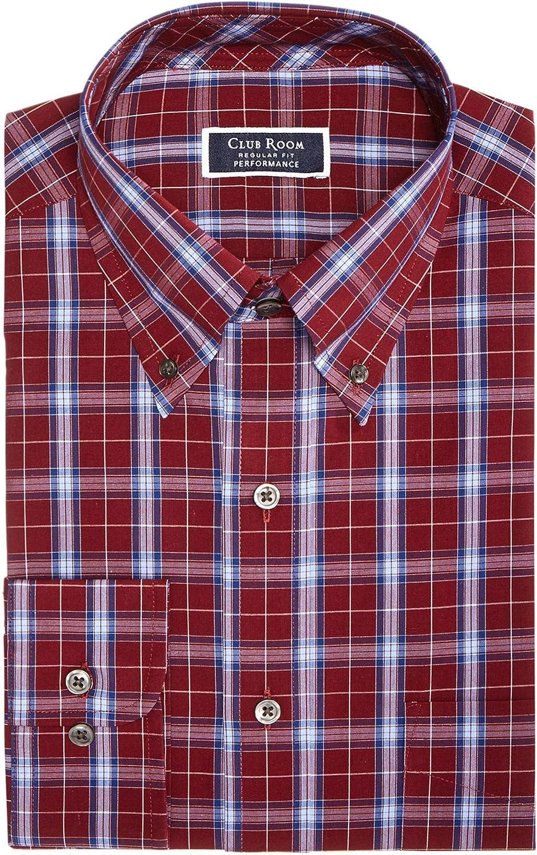 Club Room Mens Classic Regular Fit Dress Shirt Red
