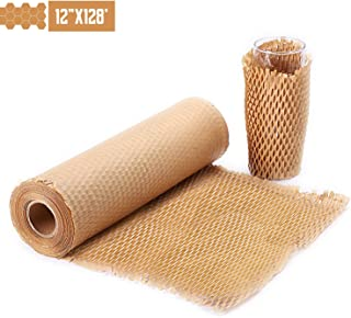 """METRONIC Packaging Paper 12""""x128' Honeycomb Cushioning Wrap Perforated-Packing,1 Rolls 128 Ft Honeycomb Wrap Roll with 20 Fragile Sticker Labels Packing Honeycomb Wrap Roll for Packing & Moving"""