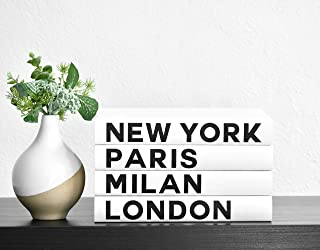 Fashion Cities Decorative Books, Books for Decorating Coffee Tables and Shelves, Set of 4, New York Paris Milan London Book Home Decor