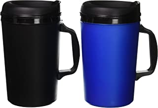 ThermoServ 2 Foam Insulated Coffee Mugs 34 oz (1) Blue & (1) Black