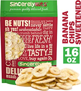 Sincerely Nuts Banana Chips (sweetened) (1 LB) - Gluten-Free Food, Vegan, and Kosher Snack-Healthier Alternative Sweet Treat-Same Banana Taste with Crunch Plus Added Taste-Natural Energy