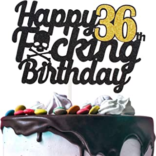 Happy Funny Birthday Cake Topper Black (36th)