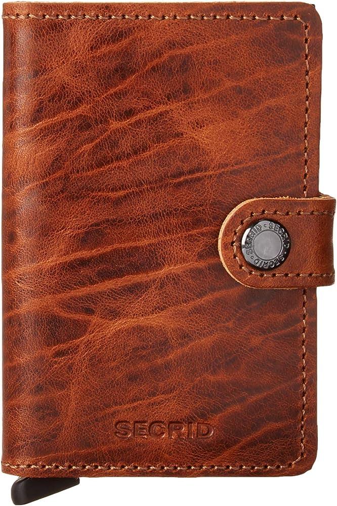 Secrid, porta carte di credito, portafoglio unisex, in alluminio e pelle, whisky mdm