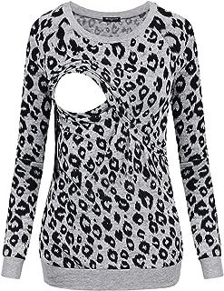 Miagooo Maternity Leopard Print Breastfeeding Long Sleeve Sweatshirts Camouflage Pullover Nursing Tops