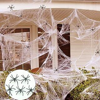 1000 قدم مربع وهمية شبكة العنكبوت نسيج العنكبوت للهالوين في الهواء الطلق / لوازم تزيين الحفلات مع 50 عنكبوتًا