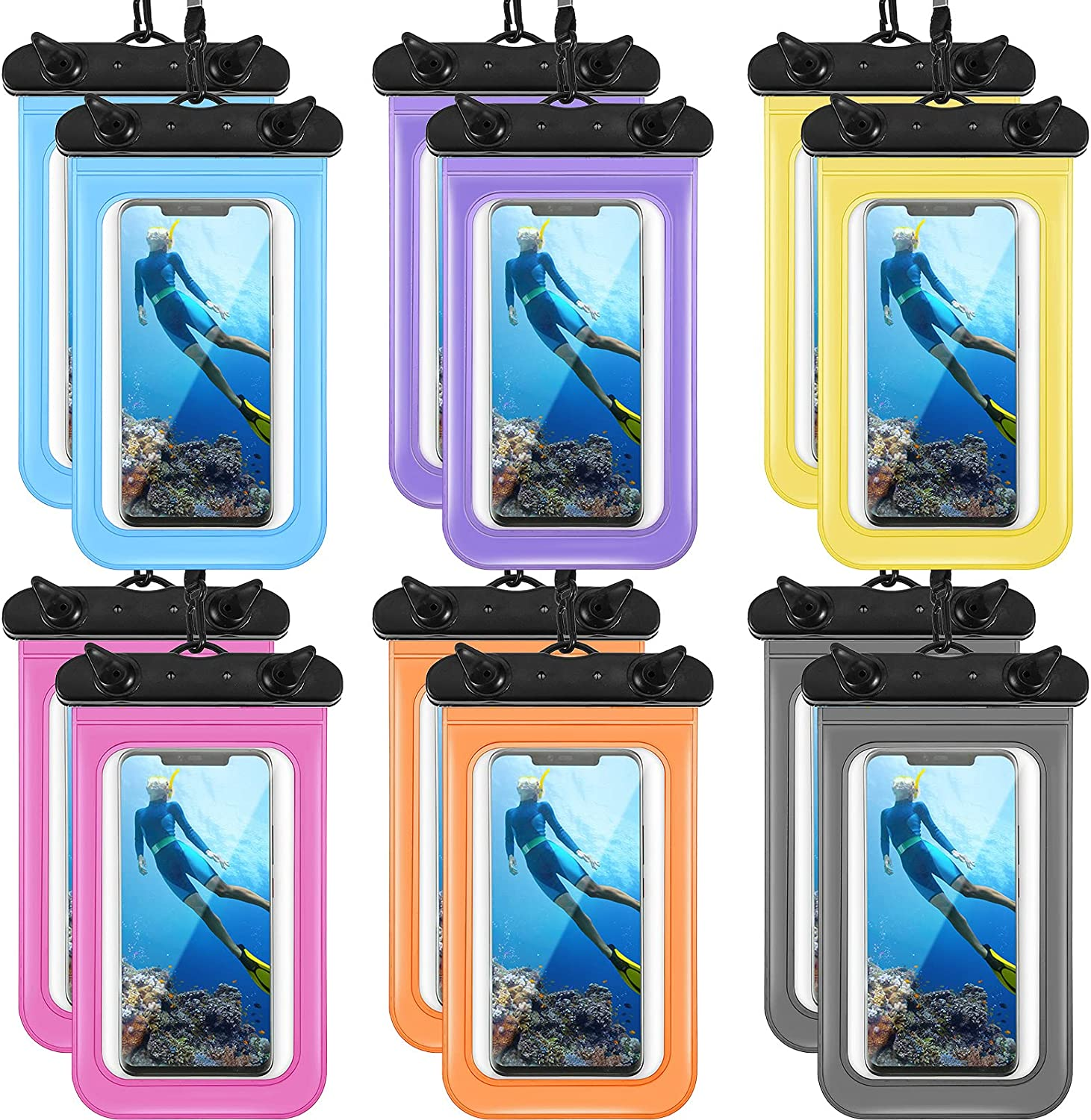 12 Pieces Waterproof Phone Pouch Transparent Waterproof Mobile Phone Case with Lanyard Universal PVC Phone Bag Dry Bag for Outdoor Water Sports Boating Hiking Fishing Swimming (Assorted Color)