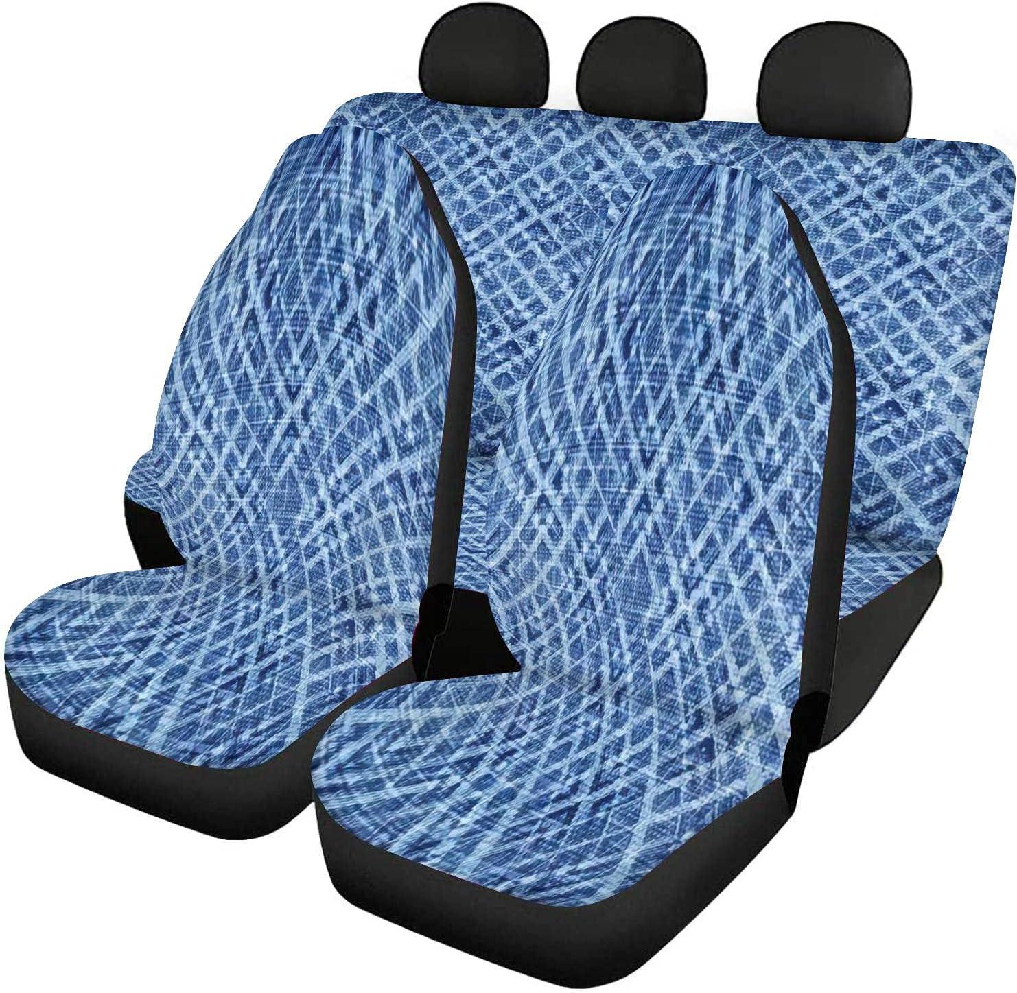 GDSJEGQM Classic Car Seat Covers Ranking TOP3 Full Set - Pattern Indigo Abst Seamless