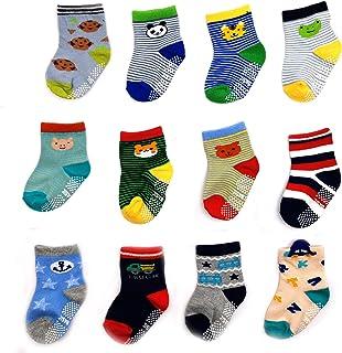 Huapan, 12 pares de calcetines termicos largos antideslizantes divertidos bonitos largos dibujos animados para 0-5 años niños y niñas