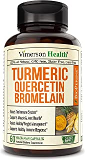 Turmeric Curcumin Bromelain Quercetin and Bioperine. Occasional Joint Pain Relief Supplement. Antioxidant Properties for Immune, Heart and Digestive Health. Supports Healthy Inflammatory Response.