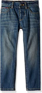 Tommy Hilfiger Adaptive Boys Jeans Slim Straight Fit with Adjustable Waist and Hems, Jonah Wash Rint, 4