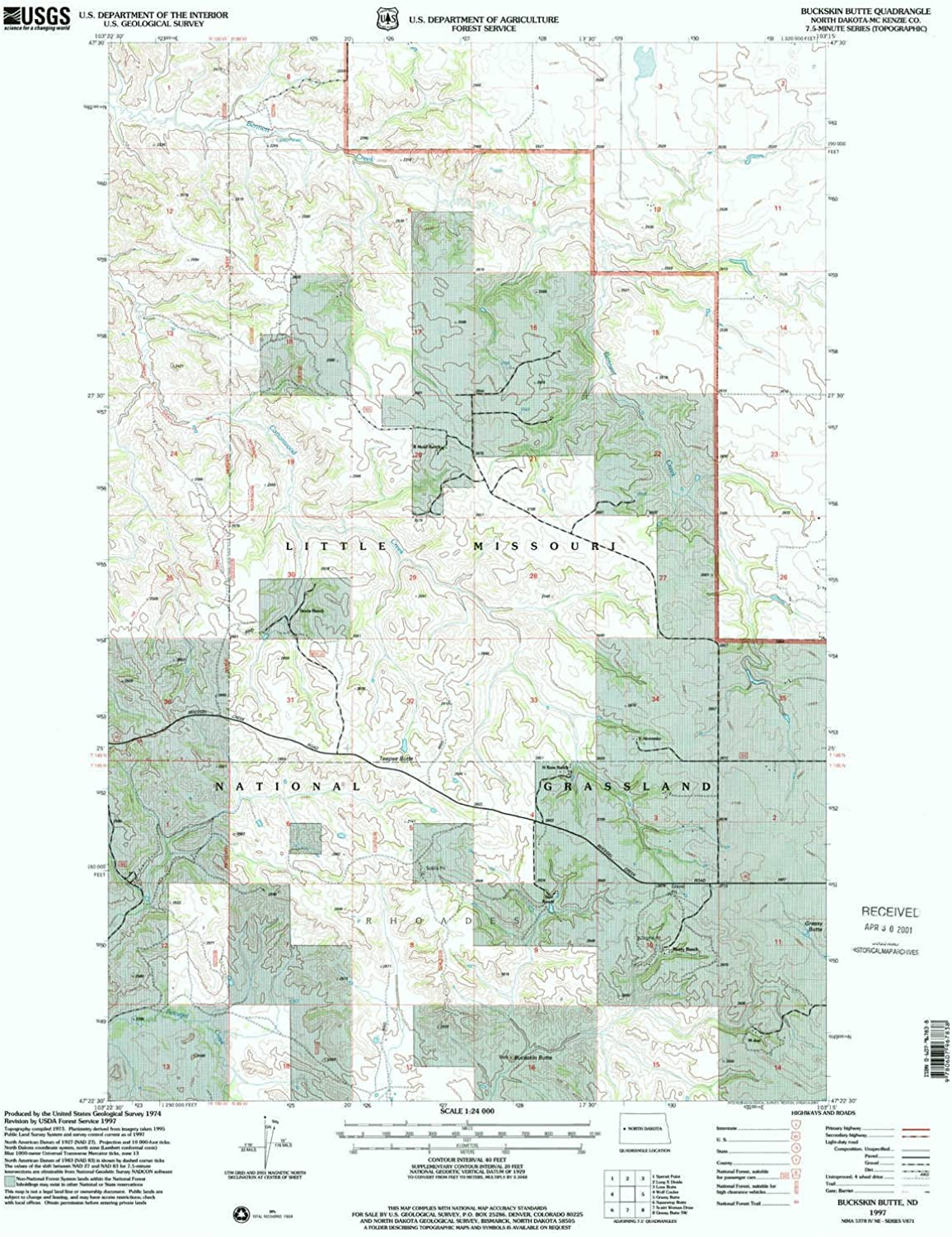 Buckskin Butte ND topo map, 1 24000 Scale, 7.5 X 7.5 Minute, Historical, 1997, Updated 2001, 27 x 21.7 in