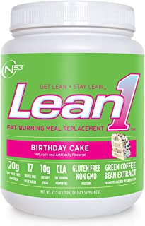 Nutrition 53 Lean 1 Meal Replacement Powder for Weight Loss, Fat Burner, Appetite Control Regular Tub 2500cc Birthday Cake Powder (15 Servings)