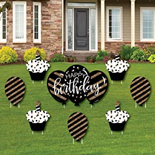 Adult Happy Birthday - Gold - Cupcake & Balloon Yard Sign & Outdoor Lawn Decorations - Birthday Yard Signs - Set of 8