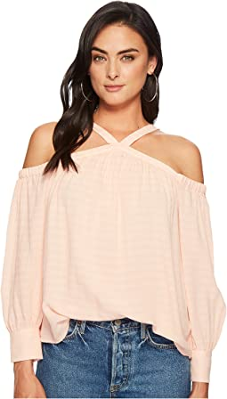 High Neck Cold Shoulder Blouson Blouse
