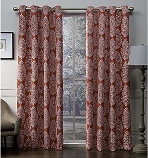 Exclusive Home Queensland Medallion Sateen Woven Blackout Grommet Top Curtain Panel Pair, Mecca Orange, 52x96