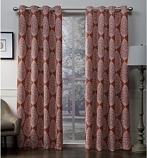 Exclusive Home Queensland Medallion Sateen Woven Blackout Grommet Top Curtain Panel Pair, Mecca Orange, 52x108