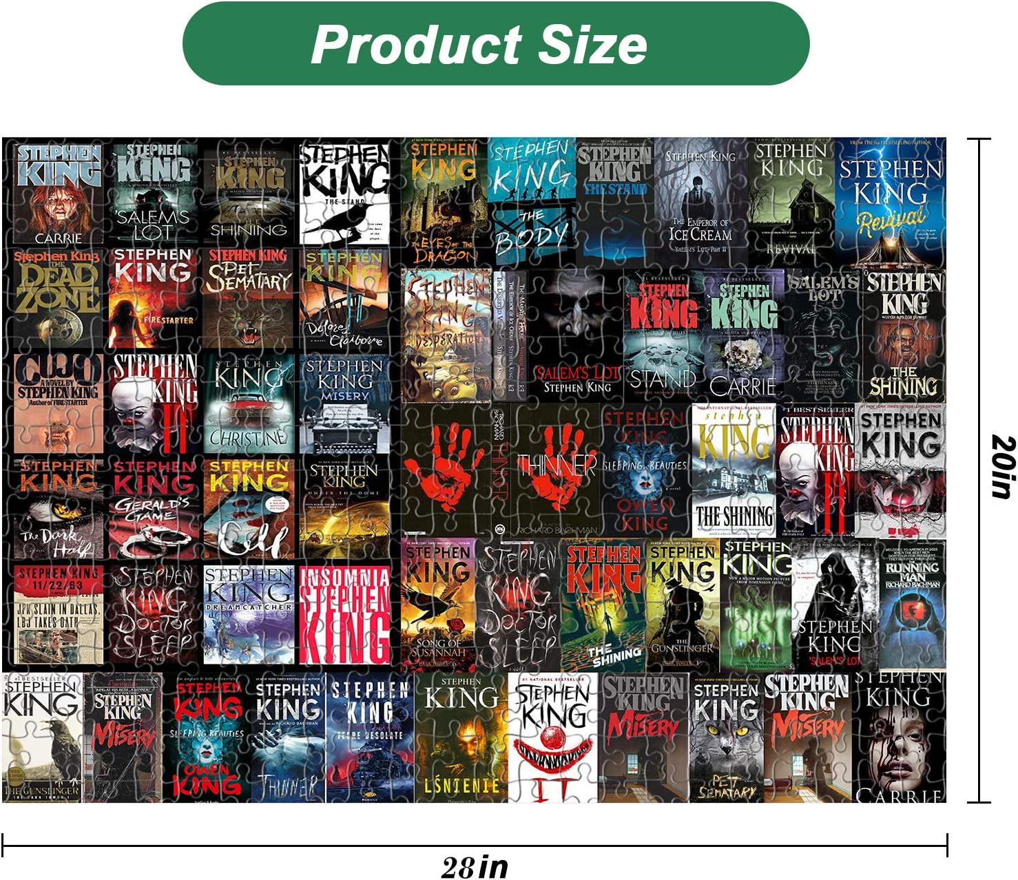 Jigsaw Puzzles for Adults 1000 Piece 28/×20inch Large Difficult Challenging Families Stress Reliever Games,Fun Kids Ages 12 and up Educational DIY Toys Puzzle Art Gifts-Horror Fiction
