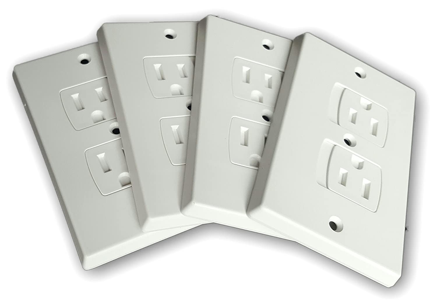 WONDERKID Self-Closing Electrical Outlet Covers for Baby Proofing - White - 4 Pack