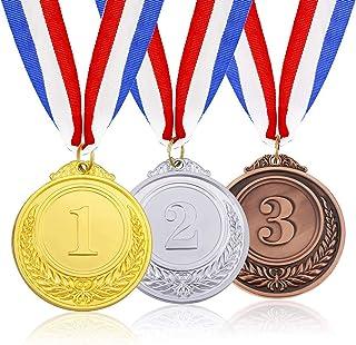 3 Stuks Gouden Zilveren Bronzen Medailles Hoge Kwaliteit Legering Medailles Medailles Met Neklint Olympische Medailles Win...