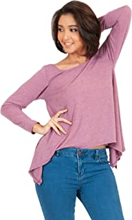 KOH KOH Womens Long Sleeve Round Neck Cross Back Casual Loose Top Blouse Tee