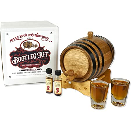 Personalized Whiskey Making Kit MADE BY American Oak Barrel - 103 The Outlaw Kit from Skeeters Reserve Outlaw Gear - Create Your Own Cinnamon Whiskey Oak, Black Hoops, 2 Liter