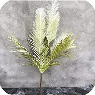 NA 62Cm 5 Heads Reed Large Artificial Tree Fake Palm Leaves Branch Plastic Onion Grass Autumn Flowers for Wedding Party Home Decor,Green