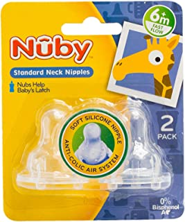 Nuby 917 Silicone Nipples SN Fast Flow 2pc -6months