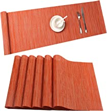 Placemat,U'Artlines Crossweave Woven Vinyl Non-Slip Insulation Placemat Washable Table Mats Set (6pcs placemats+Table Runn...