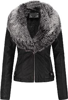 Women's Faux Leather Short Jacket, Moto Jacket with Detachable Faux Fur Collar