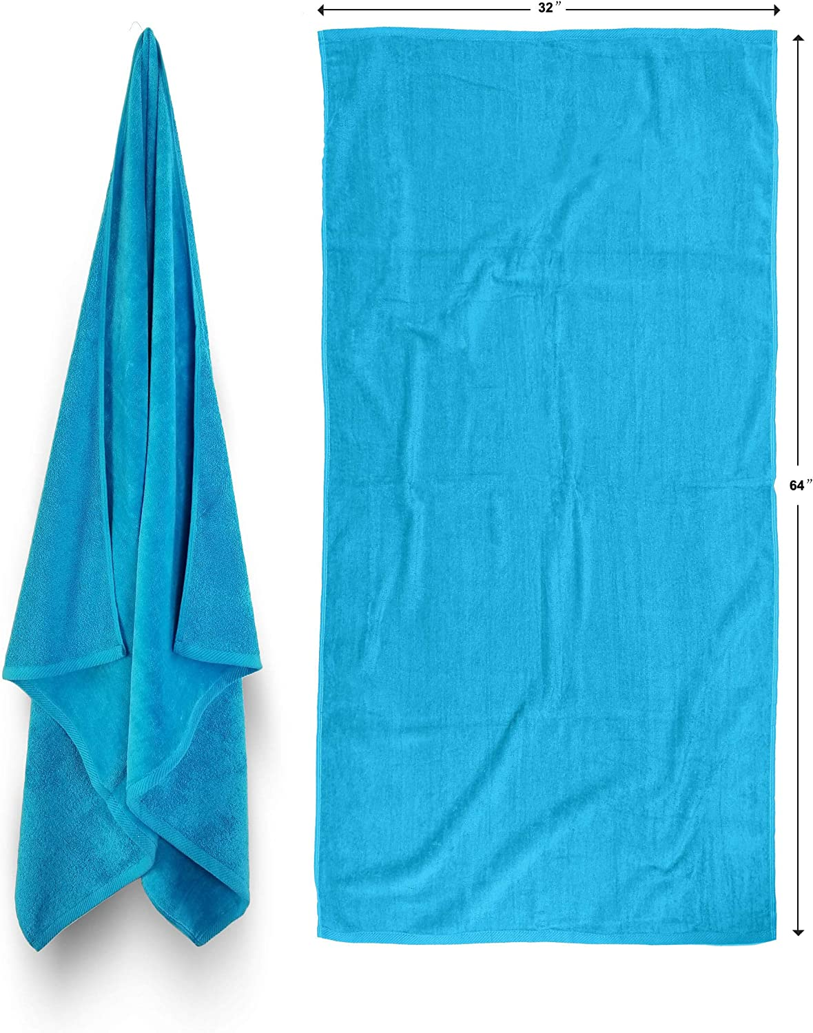 Now free shipping Royal Comfort 32x64 Solid Color Turquoise Animer and price revision 2 per Pack Terry Vel