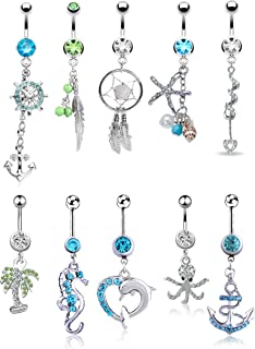 Best beach belly button rings Reviews