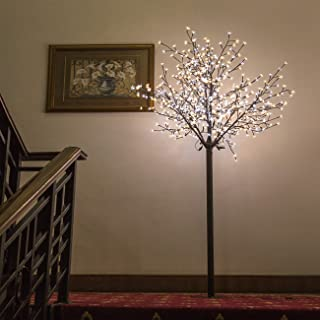 BenefitUSA 8FT 600 LED Cherry Blossom Flower Decoration Warm White & White Light Tree, White