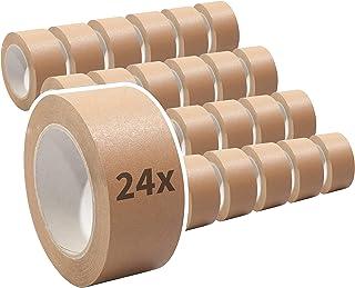 Papierklebeband | Papierpackband | Papierband | Papier Klebeband | Ökologisch & nachhaltig, 50mm x 50m, braun, Menge:24