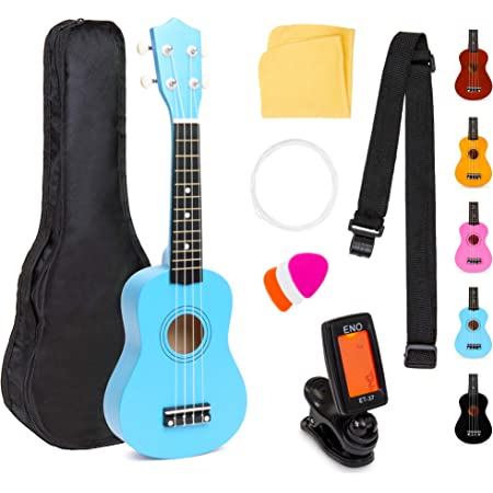 Best Choice Products 21in Acoustic Soprano Basswood Ukulele Starter Kit w/Nylon Carrying Gig Bag, Strap, Colorful Picks, Polishing Cloth, Clip-On Digital Tuner, Extra String - Blue