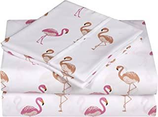 Swift Home Caribbean Joe Ultra-Soft Double Brushed 4-Piece Microfiber Sheet Set. Beautiful Tropical Patterns, and Vibrant Solid Colors, Luxury, All-Season Bed Sheet Set - Flamingo, Queen