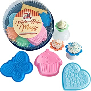Micro-Bake Magic Kids Cooking Set: Kids Cookbook and Silicone Baking Pans in Mini-Sized Fun Shapes Designed to Transform Your Microwave into a Real Kids Bakery in Minutes